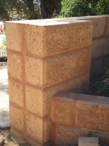 limestone retaining wall in Perth front yard
